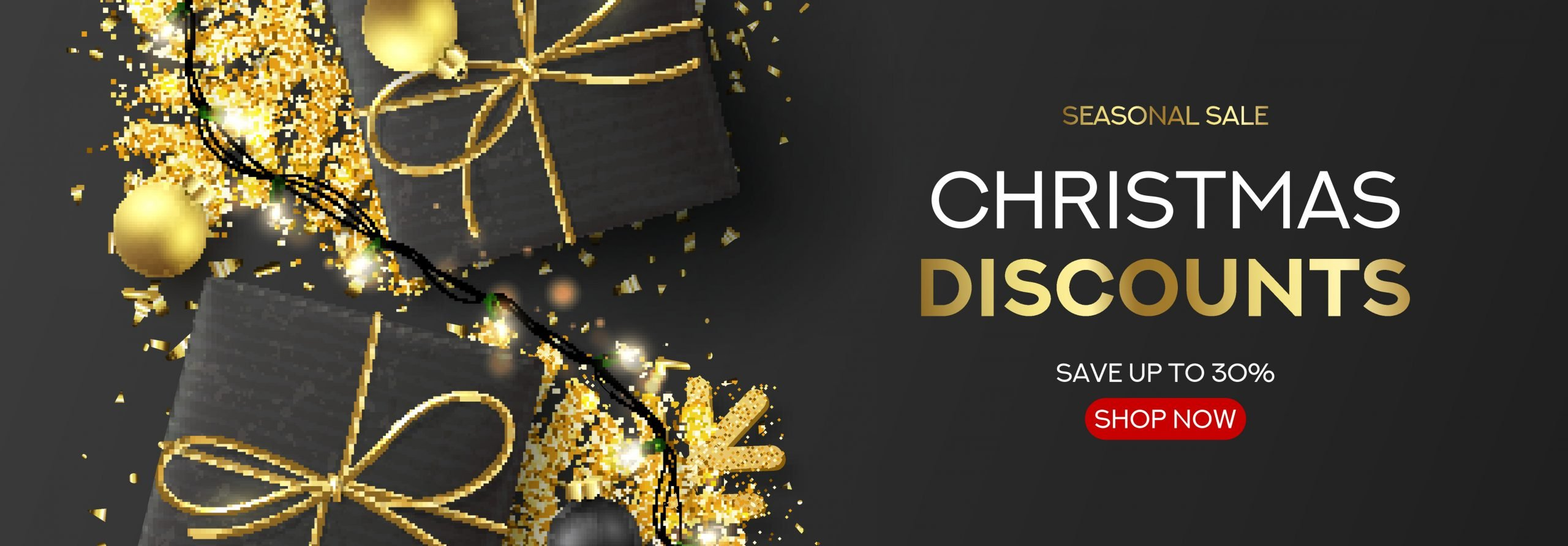 Horizontal banner for Christmas sale. Holiday background with black gift boxes, light garlands, Christmas golden balls, confetti and snowflakes. Vector illustration. Seasonal discount.